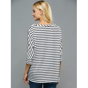 Loose Fitting Dolman Sleeves Striped T-Shirt -