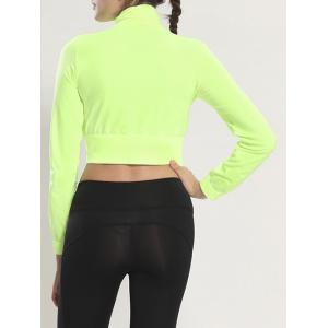 Zip Up Long Sleeve Cropped Running Jacket - FLUORESCENT YELLOW L