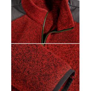 Zippered Color Splicing Napping Jacket ODM Designer - RED 3XL
