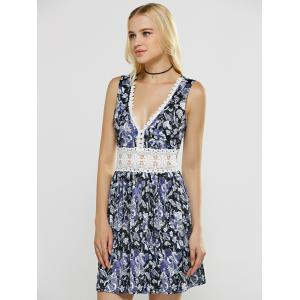 Plunging Neck Laciness Hollow Out Floral Dress -