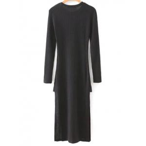 Long Sleeve Side Slit Midi Knit Dress - BLACK L
