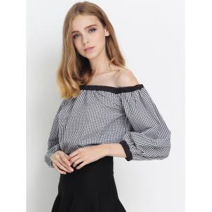 Plaid Off The Shoulder Flounce Blouse -