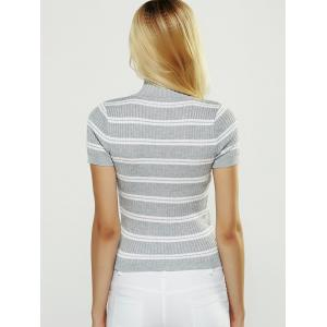 Short Sleeve Striped Sweater -