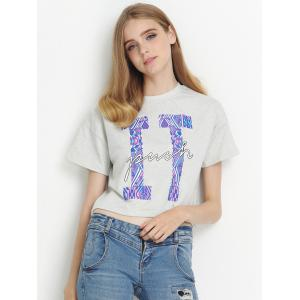 Jewel Neck Letter Short Sleeve Tee -