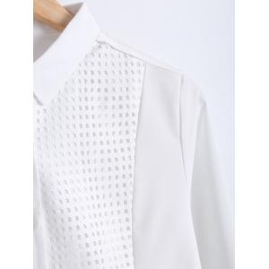 Slimming Openwork Spliced Shirt -