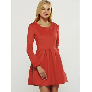 Long Sleeve Box Pleated Dress -
