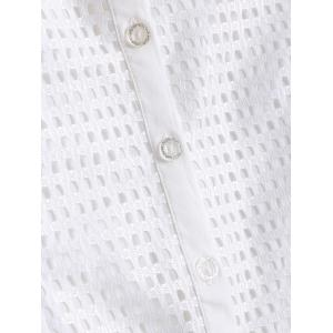 Slimming Short Sleeves Openwork Tuxedo Shirt - WHITE 2XL