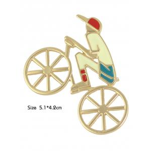 Hollow Out Bicycle Boy Shape Brooch - GOLDEN