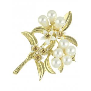 Faux Pearl Alloy Leaf Floral Brooch -
