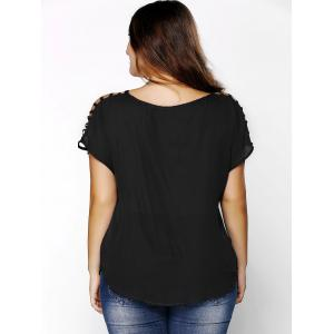 Plus Size V Neck Ripped Sleeve Tee - BLACK XL