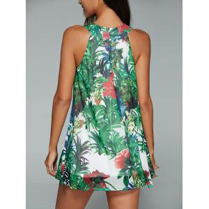 Tropic Print Loose Fitting Tank Top -