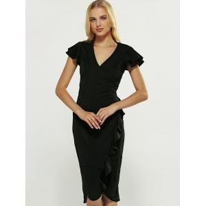V-Neck Ruffle Bodycon Wrap Dress - BLACK S