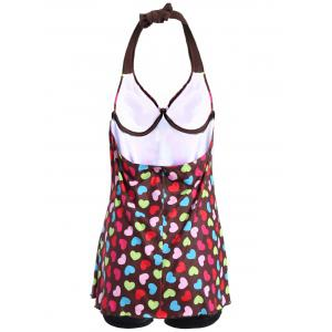 Heart Print Two-Piece Halter Swimsuit -