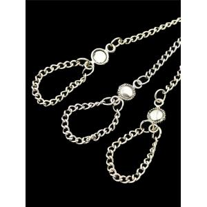 Silver Plated Alloy Chains Charm Bracelet With Ring - SILVER