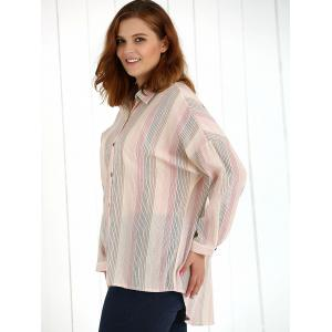 Oversized Colored Striped Long Sleeves Shirt - PINK 3XL