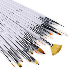 18 Pcs Multipurpose Fiber Nail Art Drawing Pens - WHITE