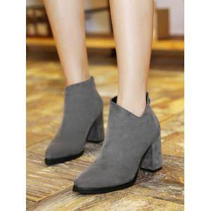 Pointed Toe Chunky Heel Ankle Boots -