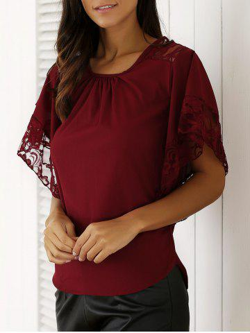 Store Chic Batwing Sleeve Lace Spliced Blouse