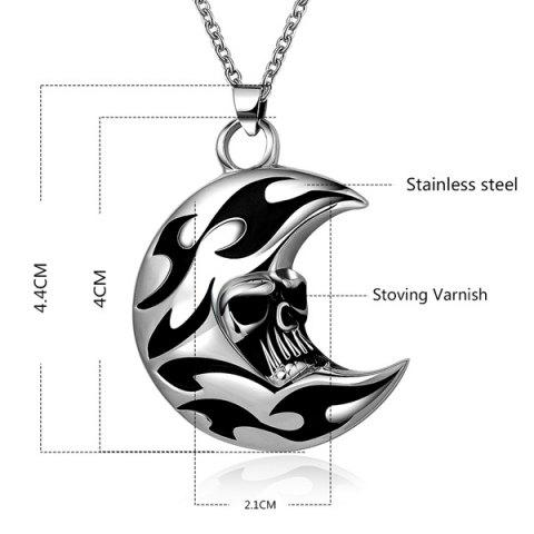 Best Punk Enamel Moon Skull Head Pendant Necklace - SILVER GRAY  Mobile