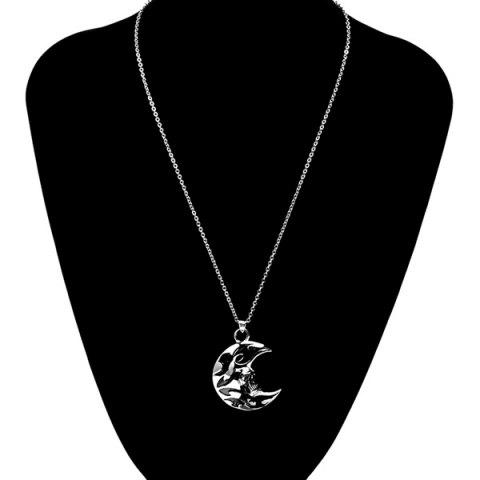 Shop Punk Enamel Moon Skull Head Pendant Necklace - SILVER GRAY  Mobile