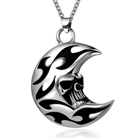 Latest Punk Enamel Moon Skull Head Pendant Necklace - SILVER GRAY  Mobile