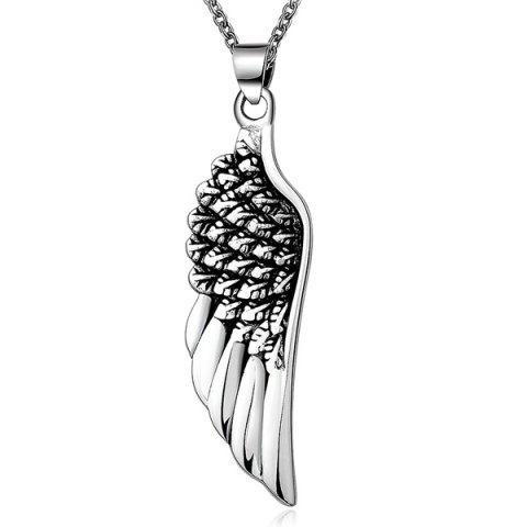 Shop Punk Stoving Varnish Middle Wing Pendant Necklace - SILVER  Mobile