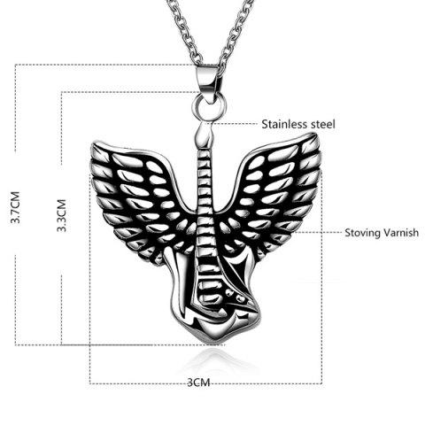 Outfit Punk Steel Color Flying Wings Pendant Necklace - SILVER  Mobile