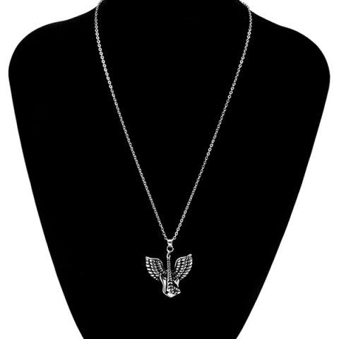 Best Punk Steel Color Flying Wings Pendant Necklace - SILVER  Mobile