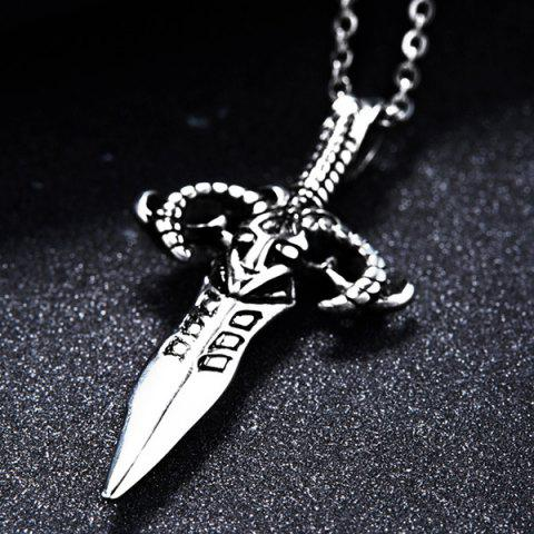Chic Punk Stoving Varnish Sword Pendant Necklace - SILVER  Mobile