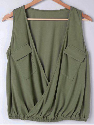 Chic Flap Pockets Low Cut Blouse ARMY GREEN M