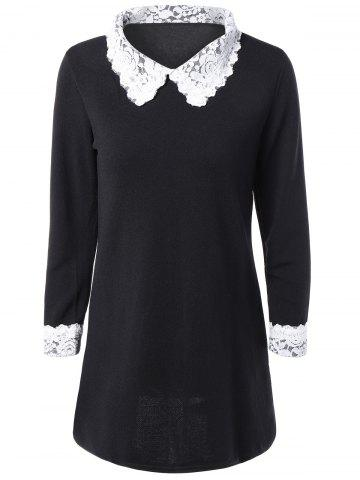 Cheap Lace Spliced Flat Collar Casual Dress Fall