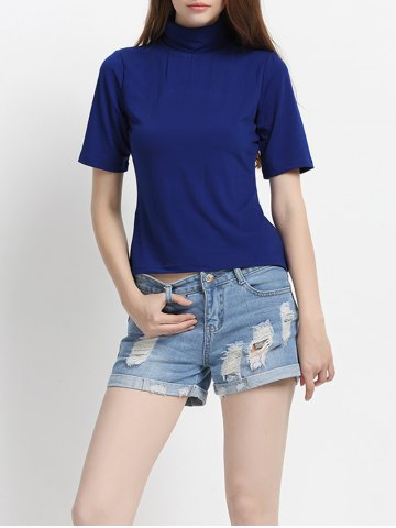 Best Pure Color Half Sleeves Turtle Neck T-Shirt