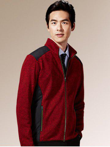 New Zippered Color Splicing Napping Jacket ODM Designer - 2XL RED Mobile
