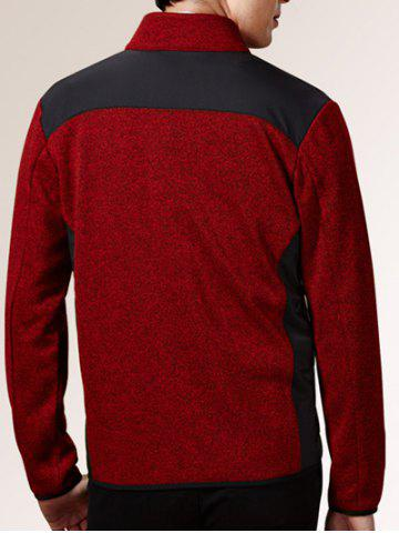 Trendy Zippered Color Splicing Napping Jacket ODM Designer - 2XL RED Mobile