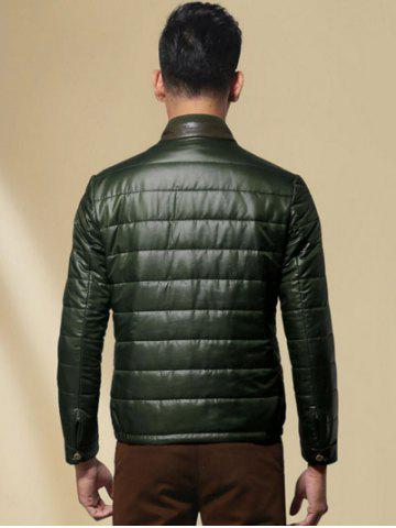Best Zippeded Patched Leather Paneled Wadded Coat ODM Designer - S GREEN Mobile