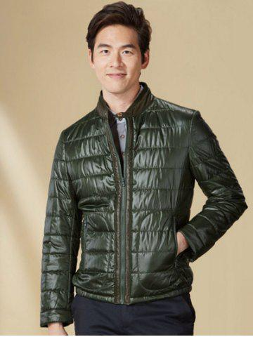 Discount Zippeded Patched Leather Paneled Wadded Coat ODM Designer - S GREEN Mobile