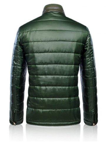 Chic Zippeded Patched Leather Paneled Wadded Coat ODM Designer - S GREEN Mobile