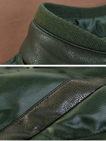 Cheap Zippeded Patched Leather Paneled Wadded Coat ODM Designer - S GREEN Mobile