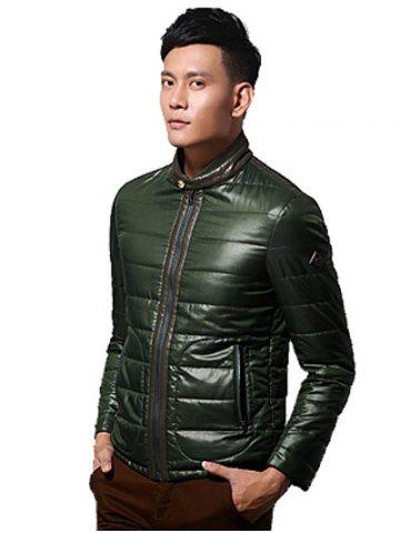 New Zippeded Patched Leather Paneled Wadded Coat ODM Designer - S GREEN Mobile