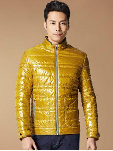 Outfits Zippered Stand Collar Long Sleeves Wadded Coat ODM Designer - 2XL YELLOW Mobile