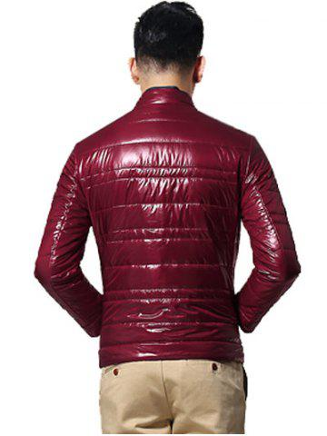 Buy Zippered Stand Collar Long Sleeves Wadded Coat ODM Designer - 2XL CLARET Mobile