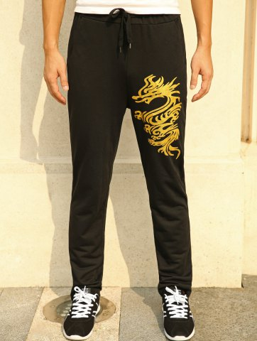 Hot Lace-Up Golden Dragon Print Straight Leg Pants BLACK XL