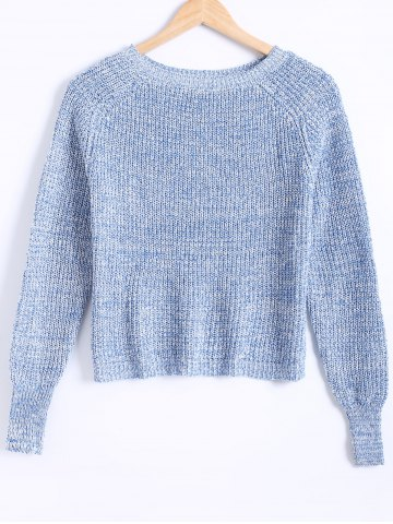 Fancy Round Neck Bishop Sleeves Heather Sweater