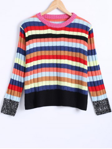 Colorized Striped Knitted Ribbed Pullover