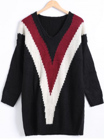 New V-Neck Loose Fitting Color Block Sweater