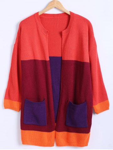 Shop Color Block Pocket Design Knitted Cardigan