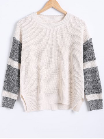 Hot Two-Tone Slit Knitted Pullover