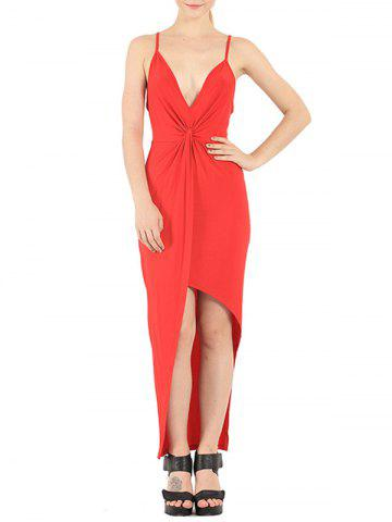 Best Plunge Knotted Slip Maxi Backless Club Dress RED 2XL