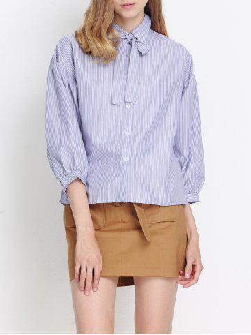 Buy Puff Sleeves Striped Bowknot Blouse