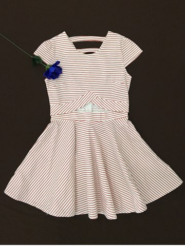 New Striped Print Lace Splicing Dress